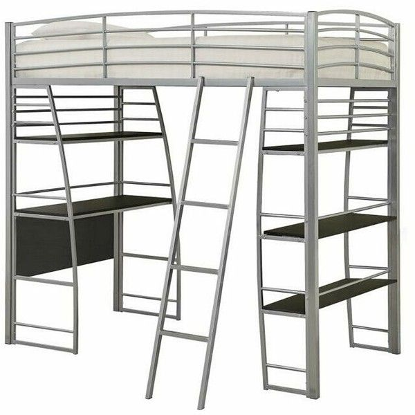 Escalon collection silver finish metal frame twin loft bed with desk ...
