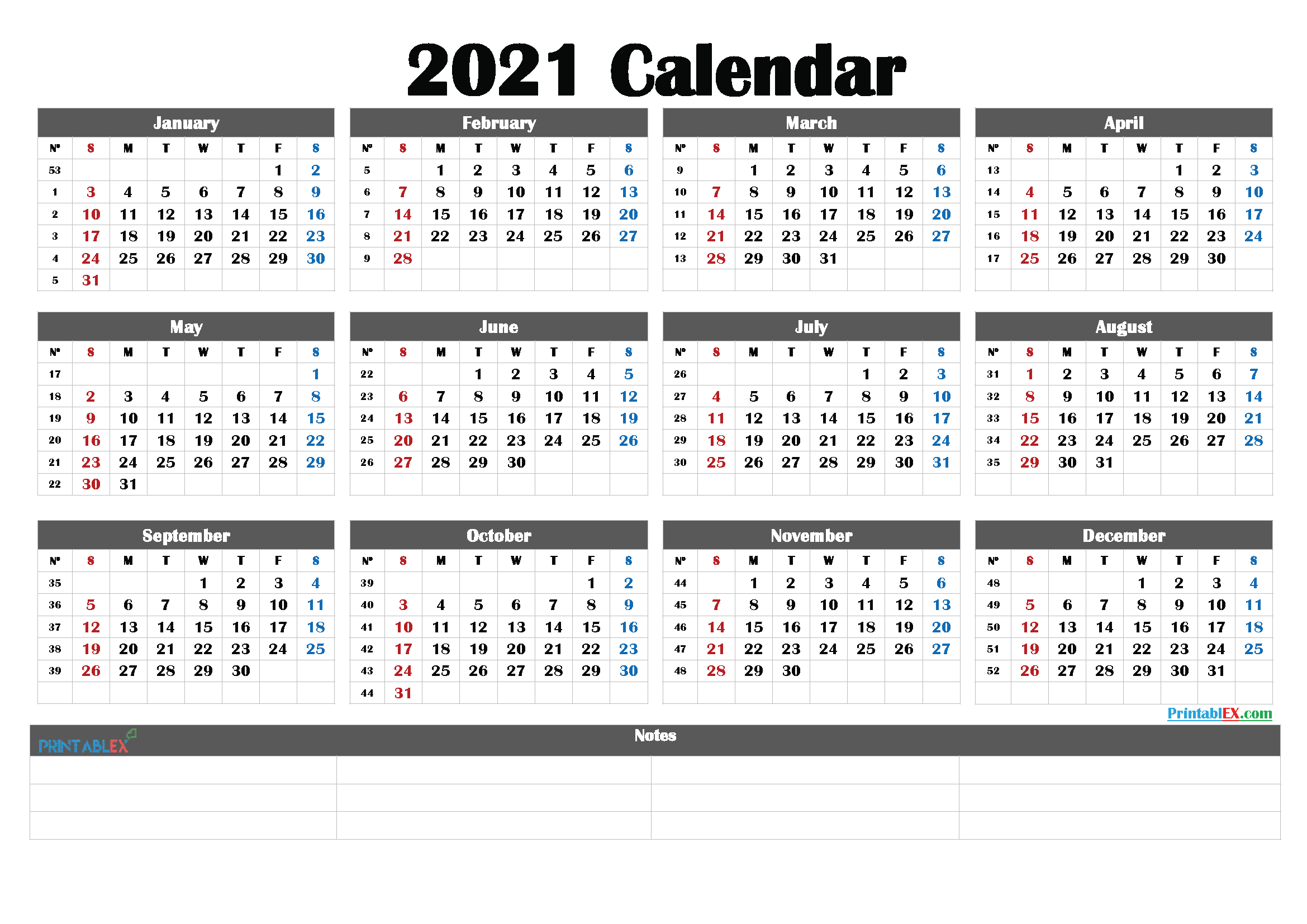2021 Calendar with Week Numbers Printable - 21ytw187 ...