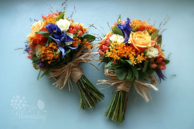 rustic bridesmaid bouquet in blue and orange | Flickr - Photo Sharing!