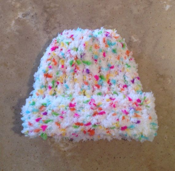 Confetti Rainbow Colored Premie Baby Infant Knitted Winter Hat #premiebabyhats