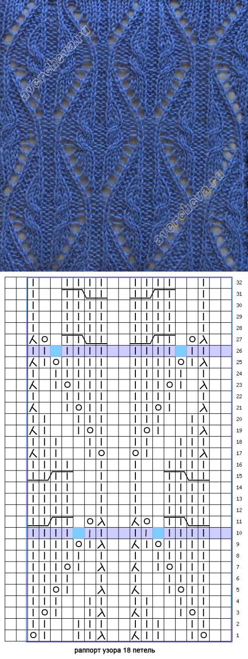 узор 159 косы с ажурным узором   каталог вязаных спицами узоров