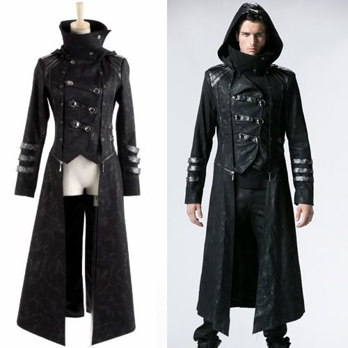 Men Black Double Breasted Hooded Medieval Gothic Military Trench ...