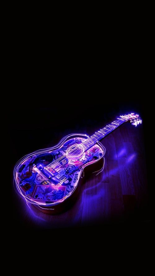 Guitar Music And Light Image Camouflage Wallpaper Neon