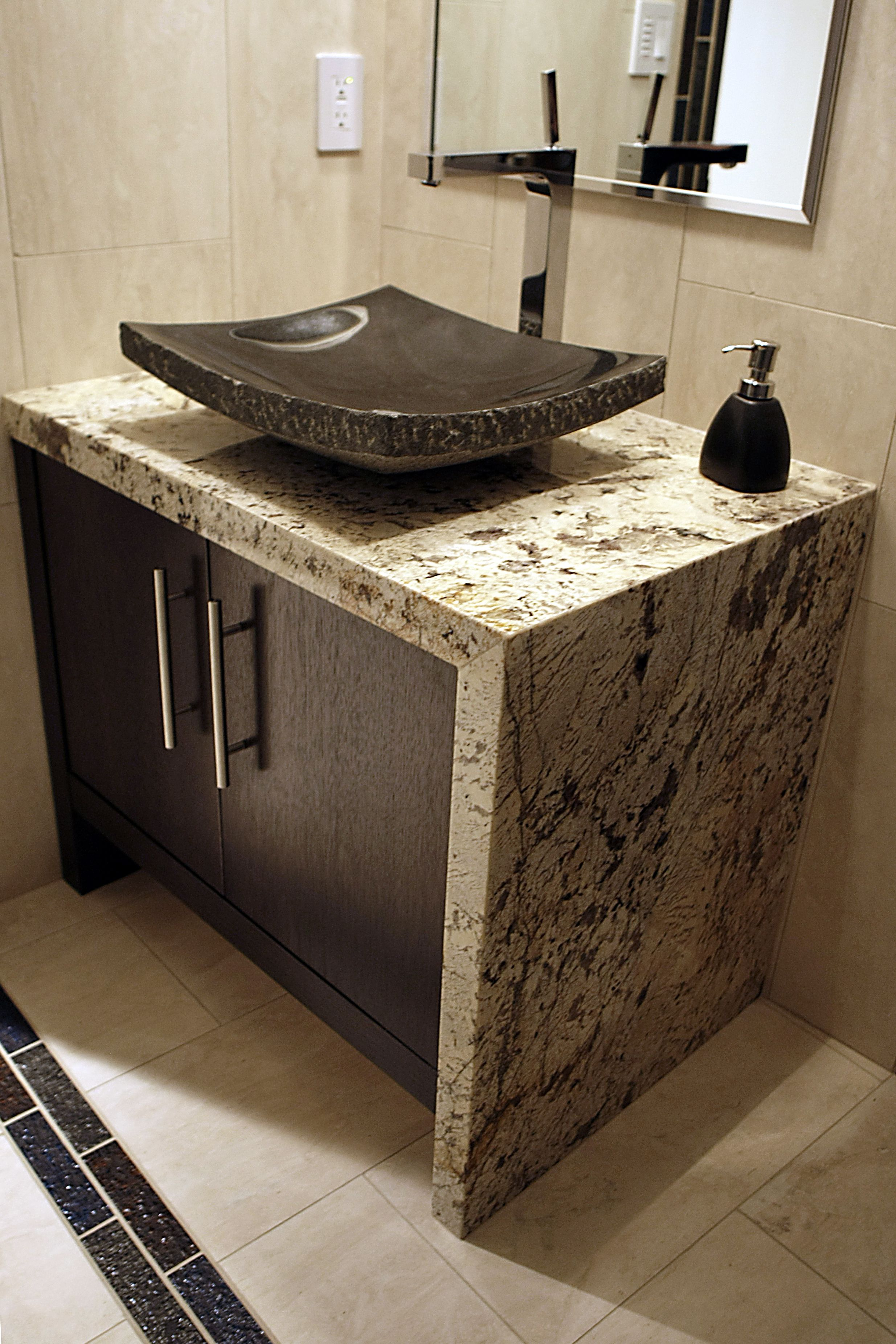 Vanity Top With Mitred Waterfall Edge And Vessel Sink In Delicatus