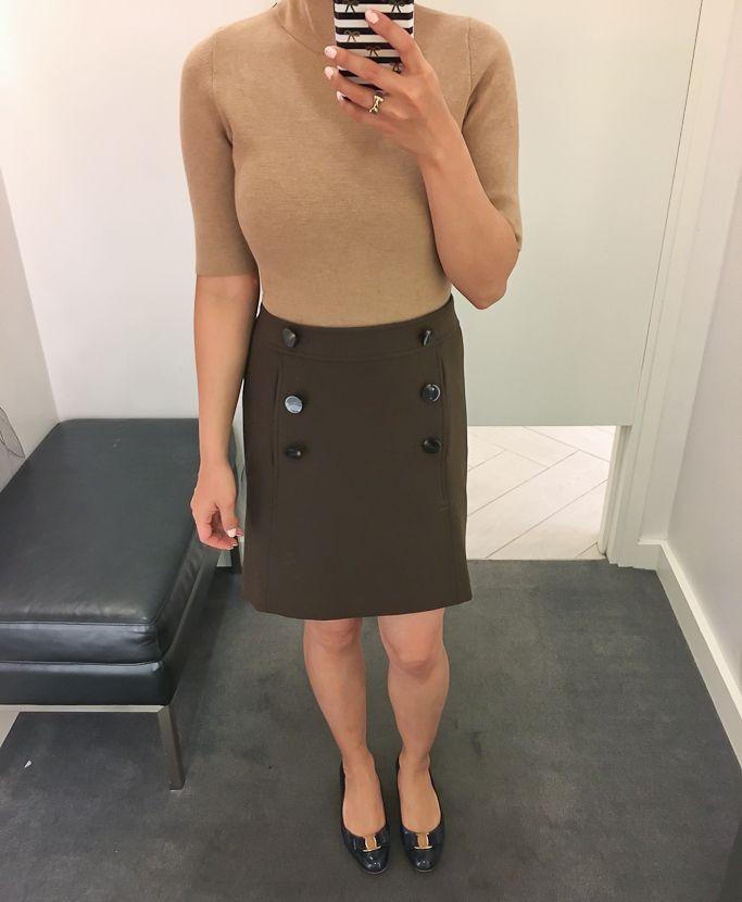 b9c731b67d1 Brown button front a-line skirt