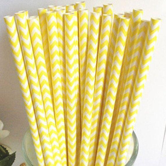 CHEVRON PAPER STRAWS, 25 Sunshine Yellow Chevron Straws with Diy Flags. Wedding, Anniversary, Graduation,Birthday parties, Easter on Etsy, $4.50