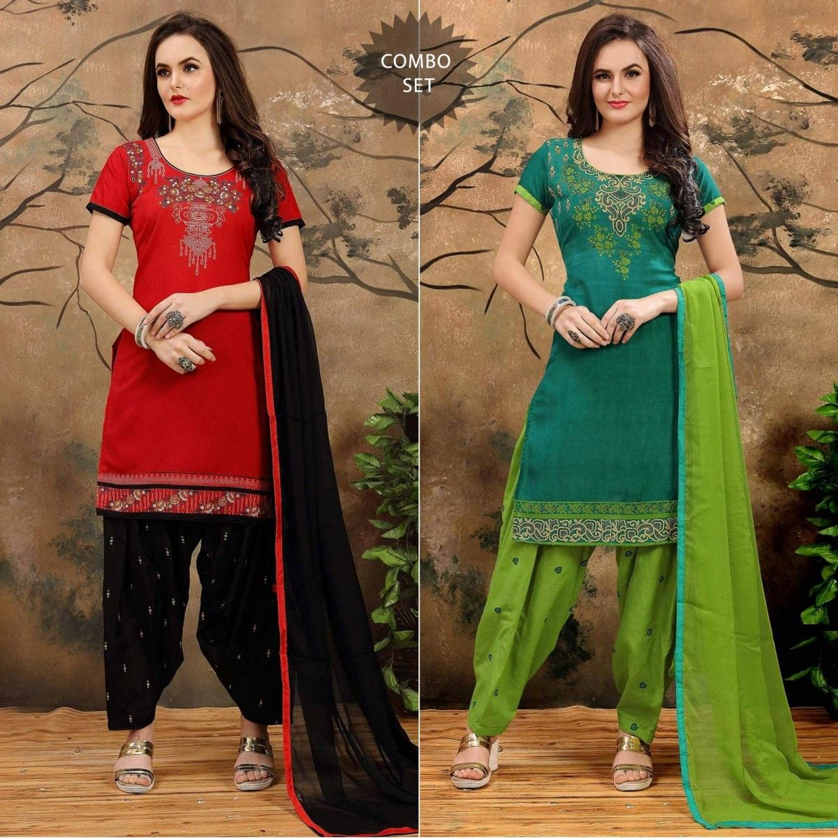b609292366 Buy Red - Green Printed Patiala Combo at Rs. 949- Get latest combo packs