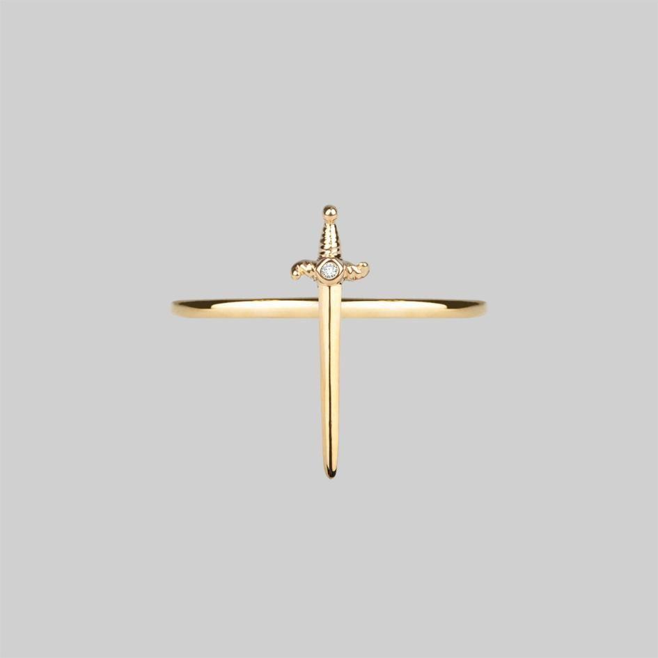 Betrayal dagger cubic zirconia ring gold regalrose