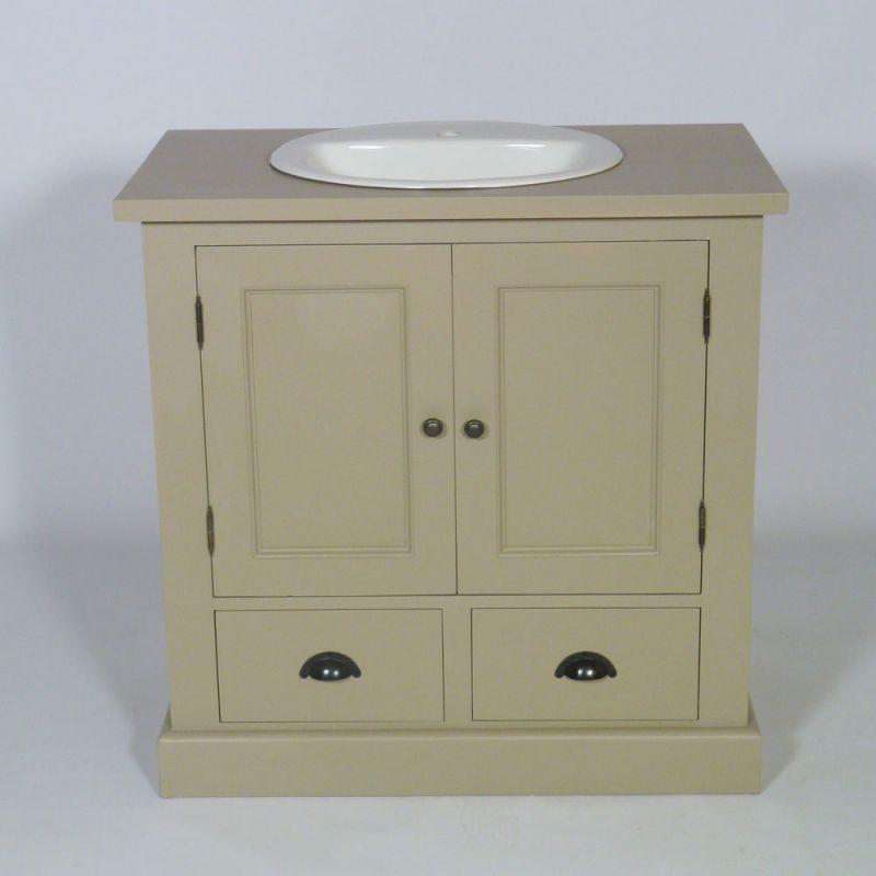 Meuble salle de bain bois Taupe 1 vasque, 2 portes 2 tiroirs bas ...