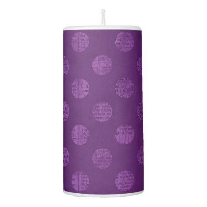 Victorian Grunge Colorful Retro Purple Polka Dots Pillar Candle - rustic gifts ideas customize personalize