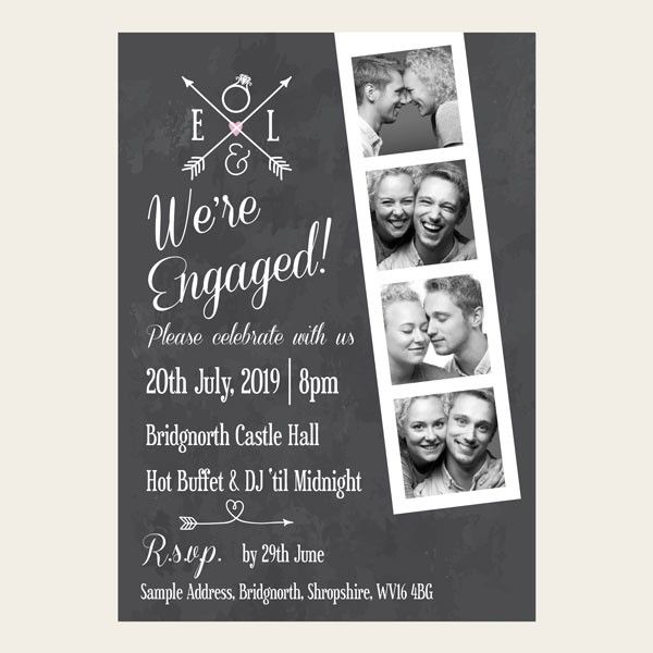 Engagement Party Invitations - Chalkboard Photo Booth #engagementparty