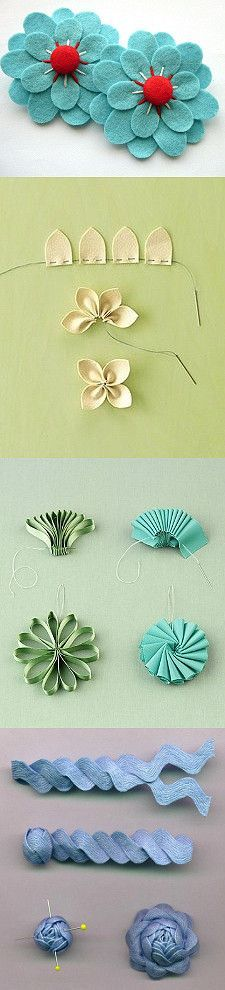 DIY Handbag Embellishments Adding Texture * ~ * ~ * ~ Wouldn't some of these ideas look stunning on a sturdy bag that would allow the embellishments really pop! A solid background can provide the contrast these flowers deserve!