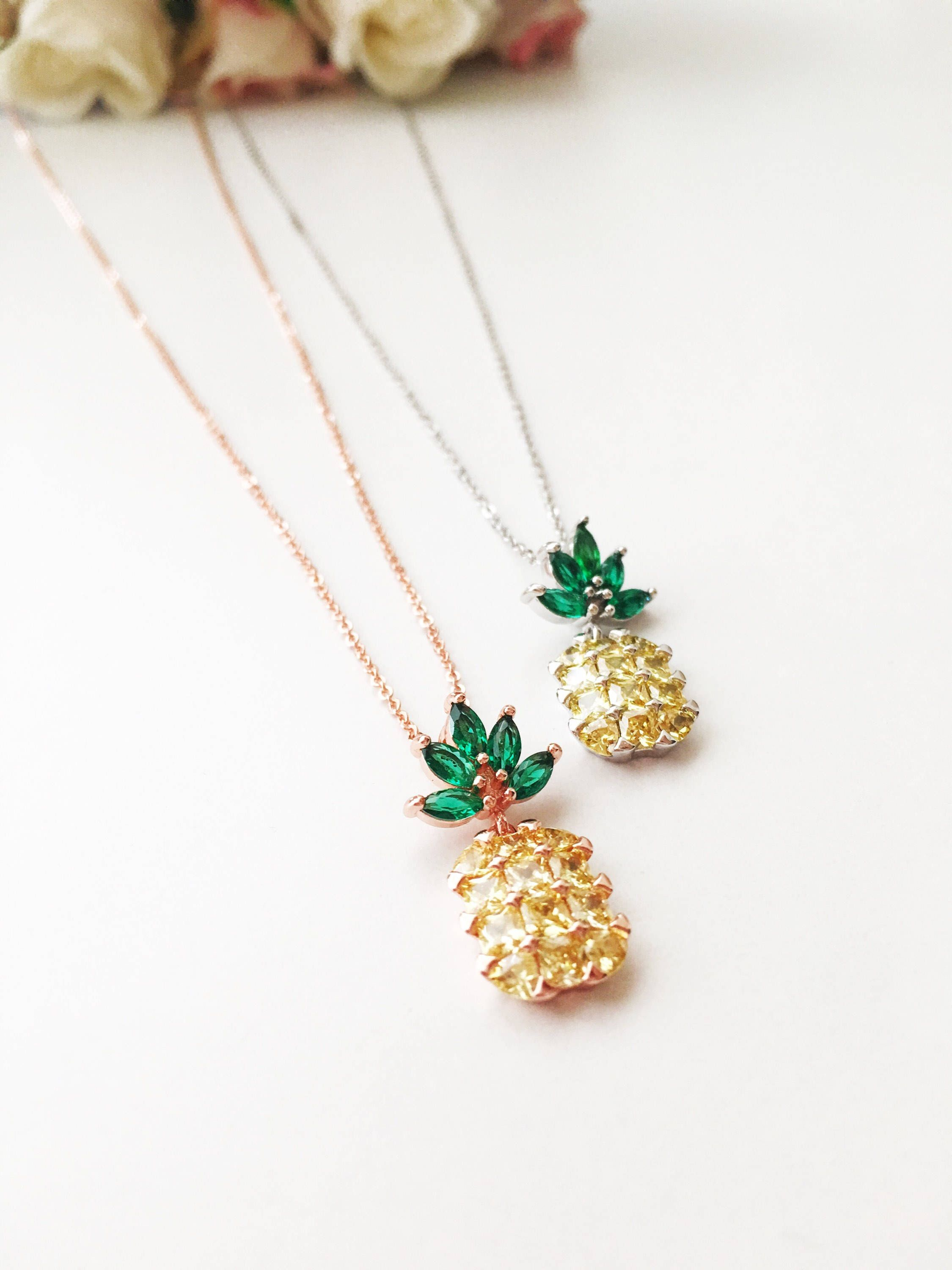 michelle chang setting sterling with in collections necklaces necklace silver pineapple gold