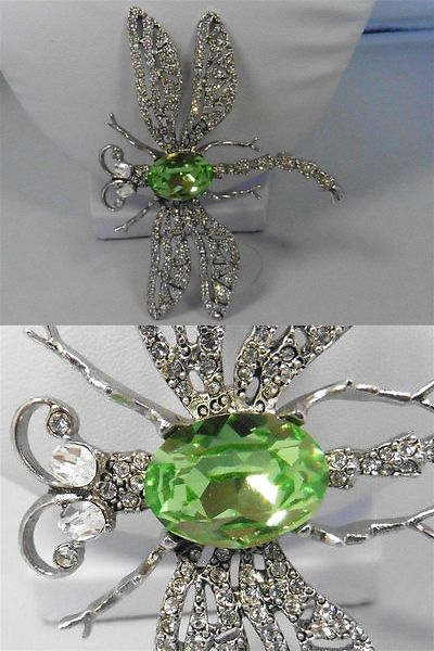 Pins and Brooches 50677: Signed Kjl Kenneth Jay Lane Green Pave Crystal Dragonfly Pin / Brooch 3 1/2 -> BUY IT NOW ONLY: $59.99 on eBay!