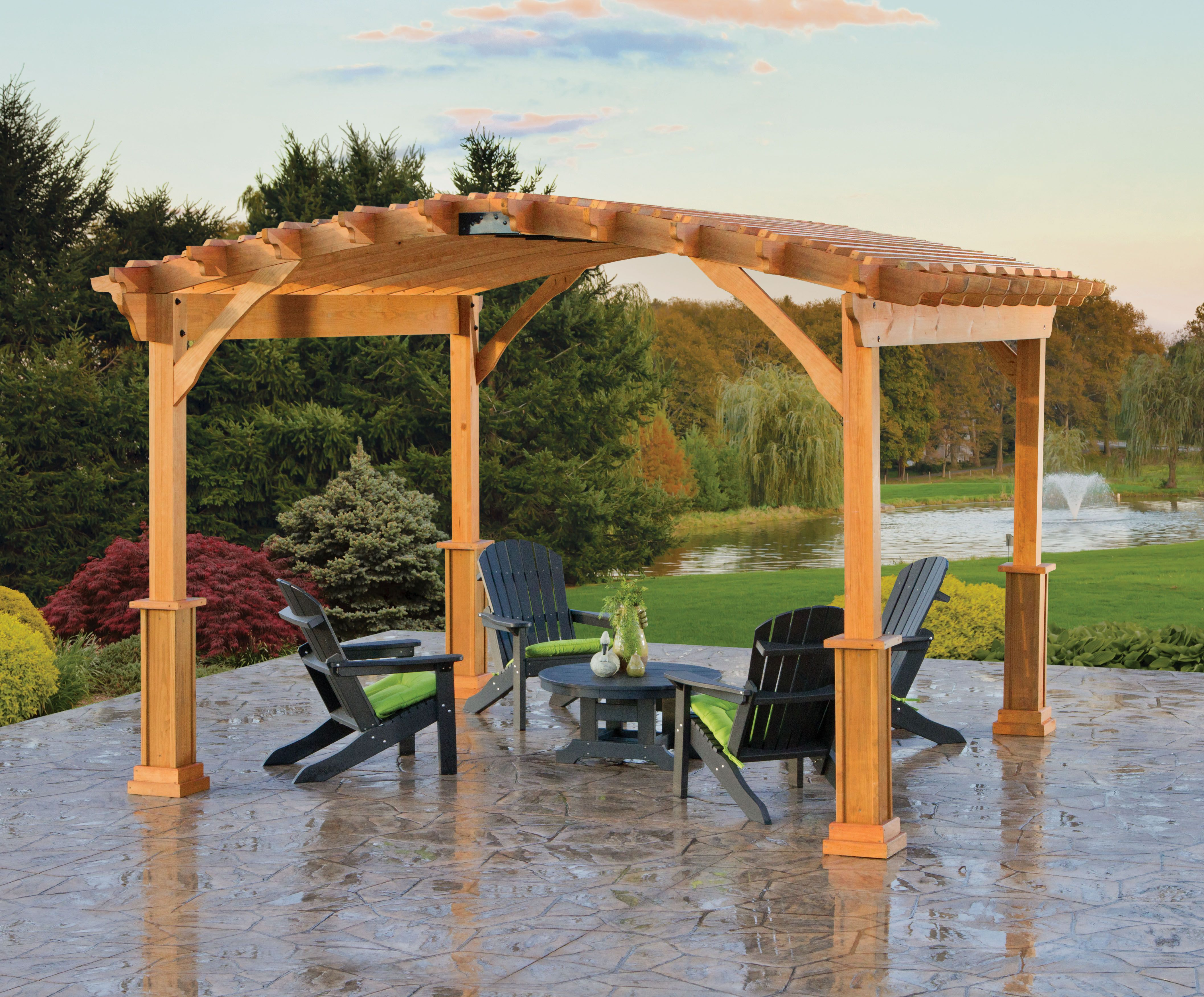 A Berlin Gardens Riviera Pergola In Treated Wood Adds Architectural Grander  To A Patio. #