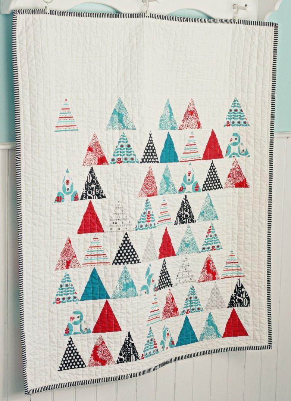 triangle quilt featuring Brrr! fabric || blueelephantstitches