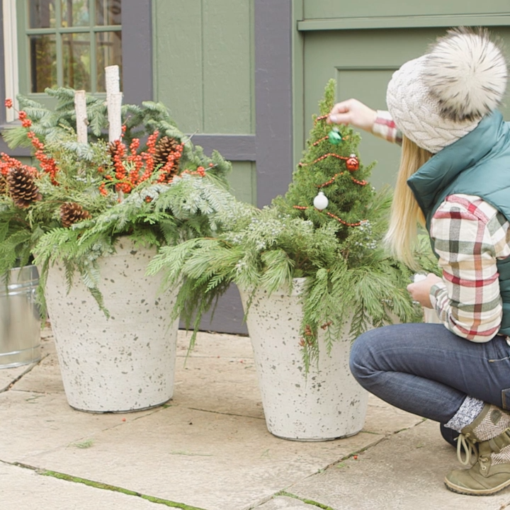Learn How to Assemble a Stunning Container for Winter is part of Winter container gardening, Container gardening, Christmas planters, Porch plants, Seasonal garden, Outside christmas decorations - Your garden can be full of green in any season (even if the ground is frozen solid)
