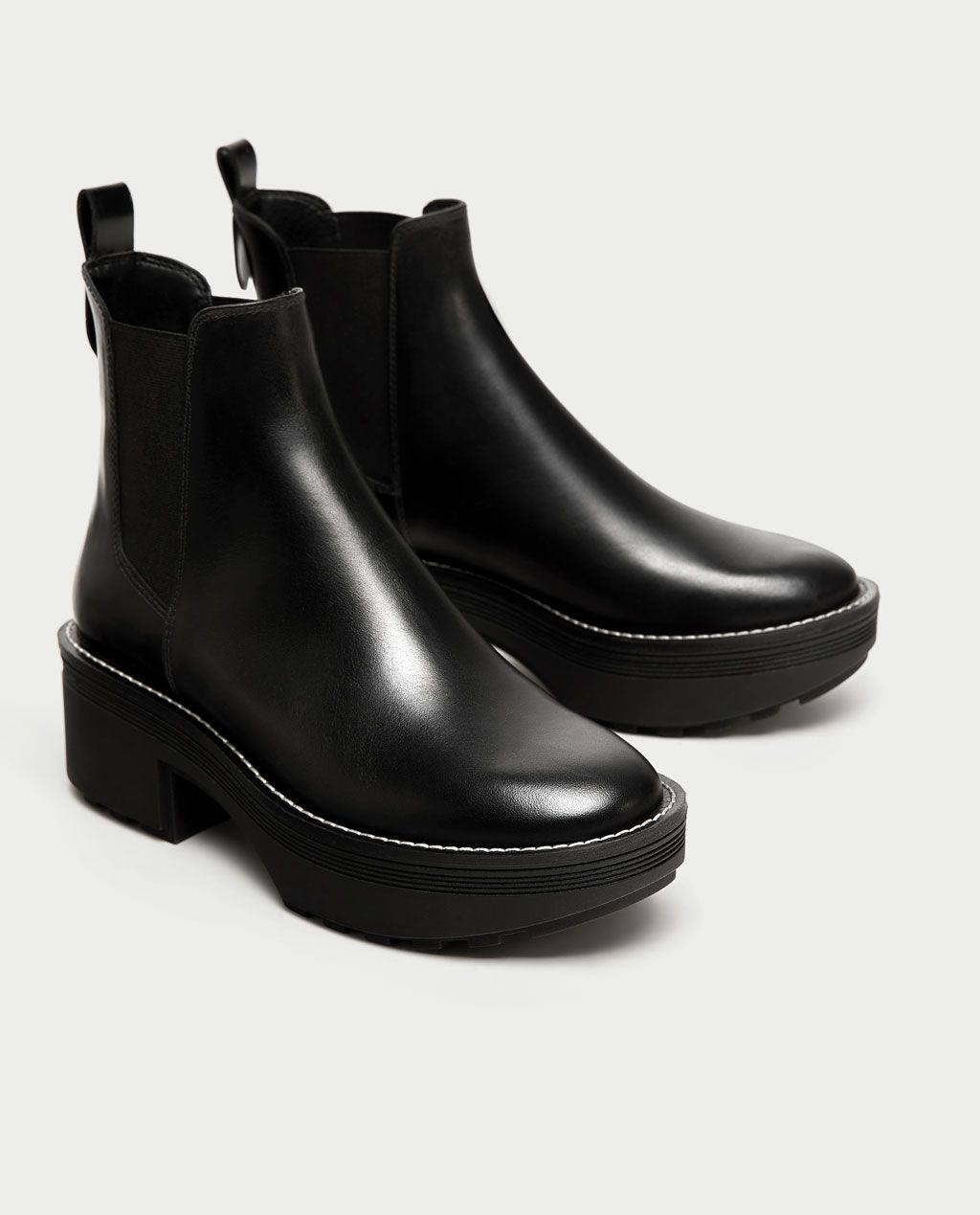4fe9c81f Image 1 of FLAT LEATHER ANKLE BOOTS WITH TRACK SOLE from Zara | The ...