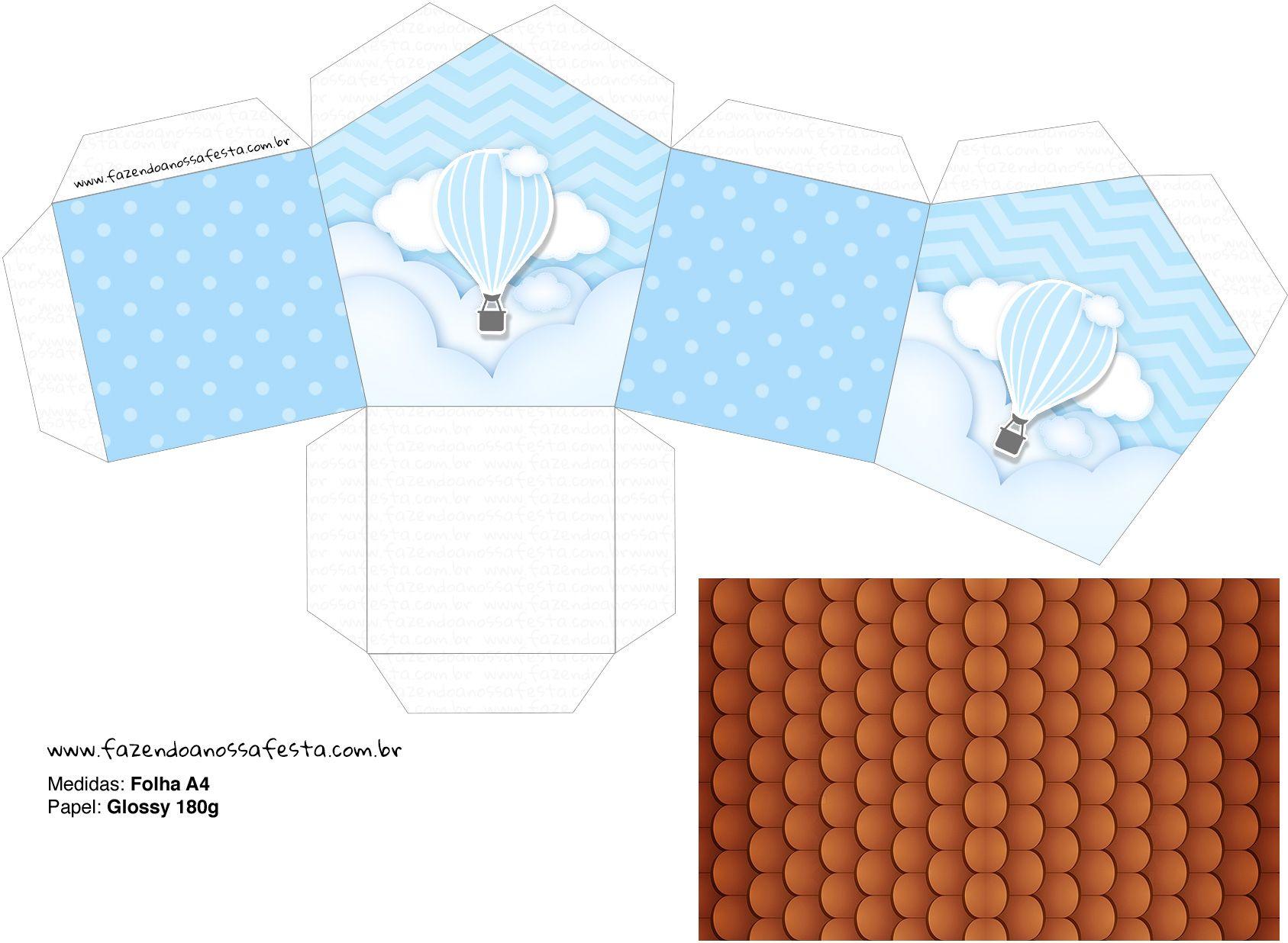 Molde Casinha Balao De Ar Quente Azul Em 2020 Balao De Ar Quente