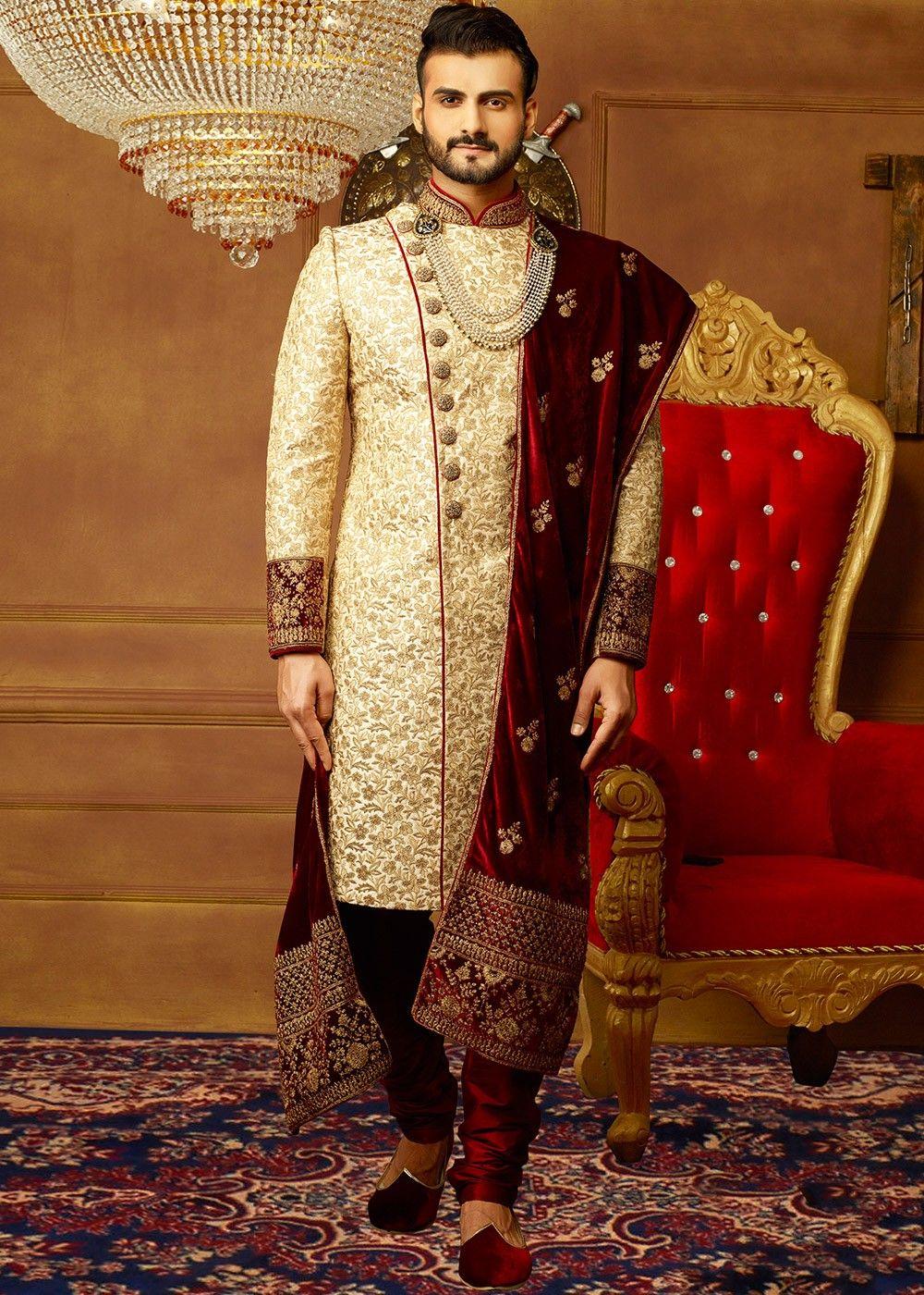 Cream Art Banarasi Silk Embroidered Sherwani With Images Sherwani Groom Wedding Sherwani