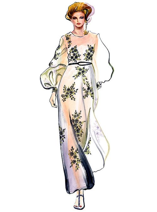 Valentino.  Couture illustration by Sunny Gu
