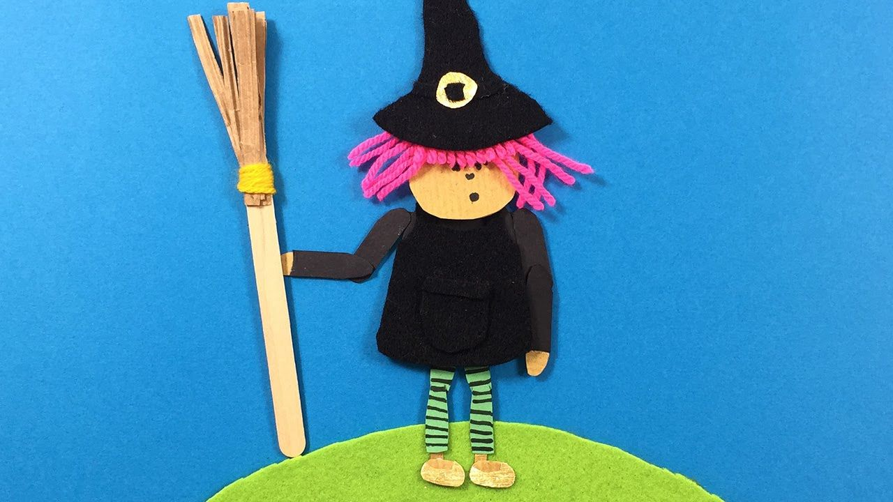 Paper Craft Ideas For Kids Videos Part - 34: A Young Witch Made From Felt, Paper, Wool - Simple Craft Ideas For Kids
