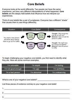 Core Beliefs (Worksheet | Therapy worksheets, Core beliefs ...