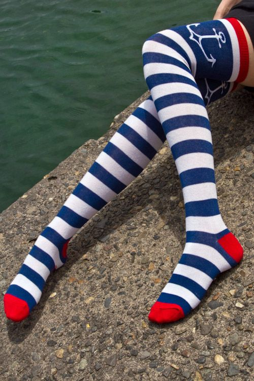 Now available online! Stripey anchor OTKs, for cartoon sailor appeal! #socks #OTK #stripes #anchor