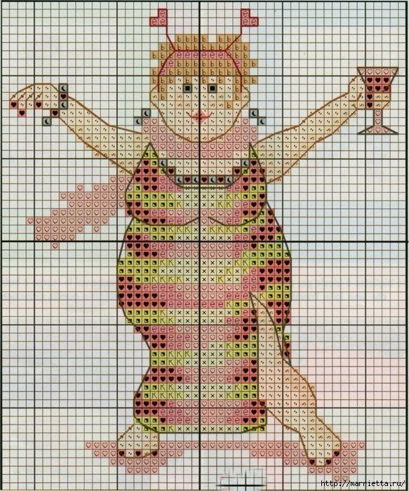 0 point de croix femme faisant la fête en costume d'abeille - cross stitch lady having a party in a bee costume