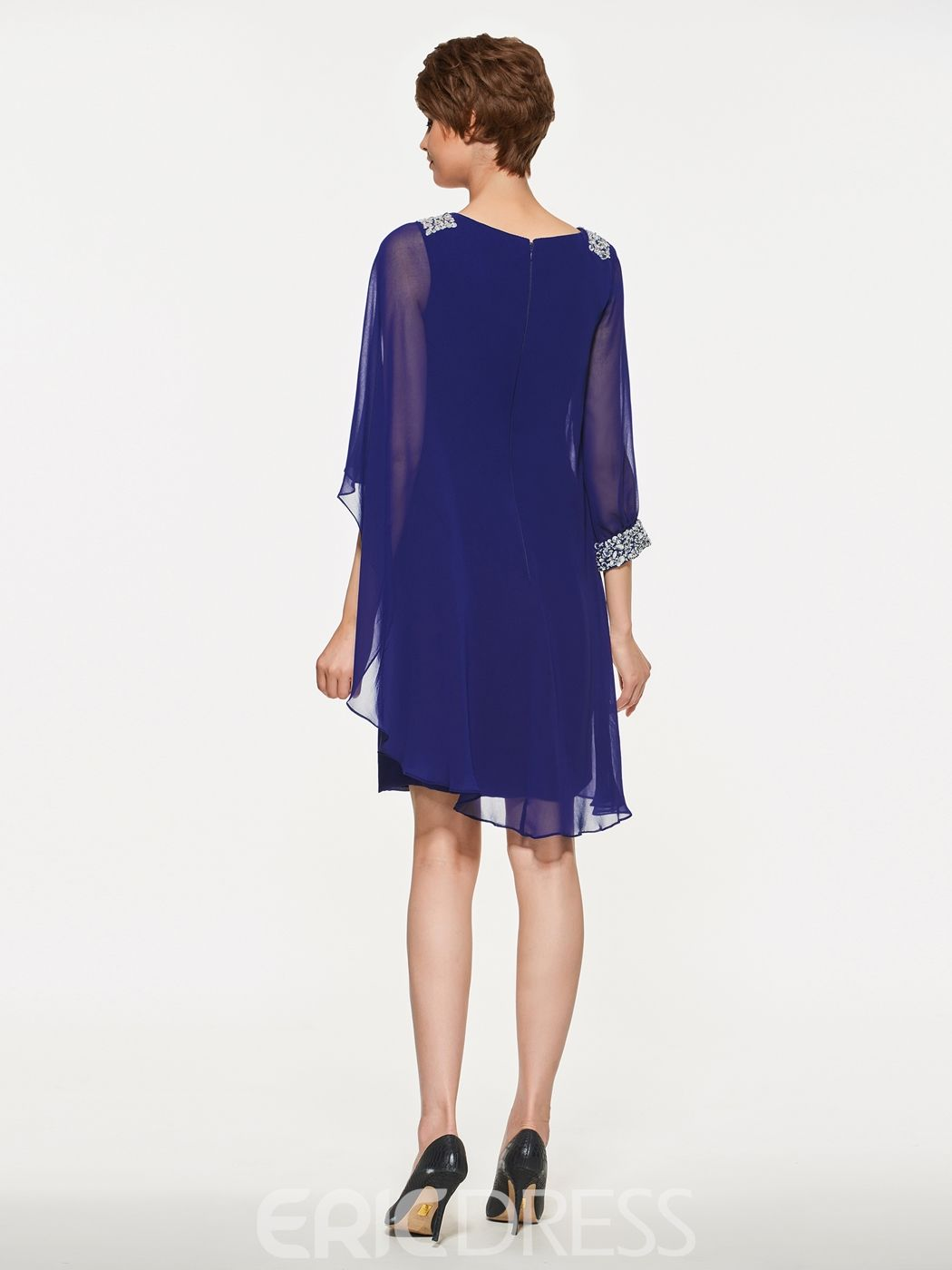 c415ad1d2fa Ericdress Scoop Sheath Half Sleeves Knee Length Mother Of The Bride Dress