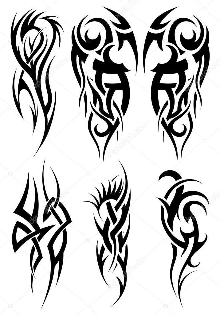 Descargar Set De Tatuajes Tribales Ilustracion De Stock 72058325 Tribal Tattoos Cool Tribal Tattoos Tribal Sleeve Tattoos