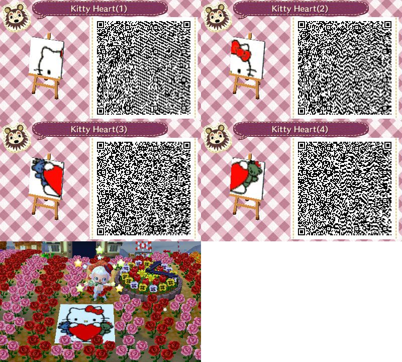 hello kitty heart mural animal crossing new leaf qr codes