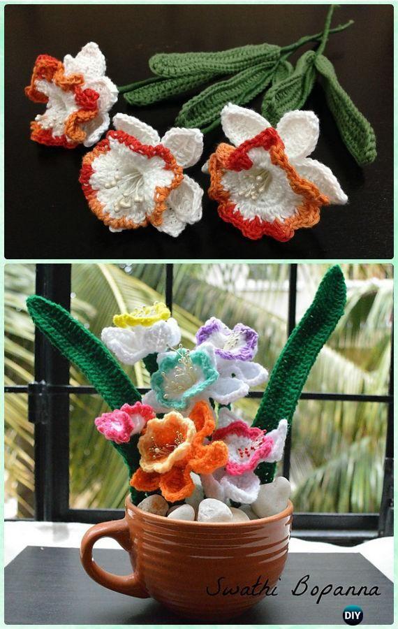 Crochet Daffodils Flower Bouquet Free Pattern-Crochet 3D Flower ...