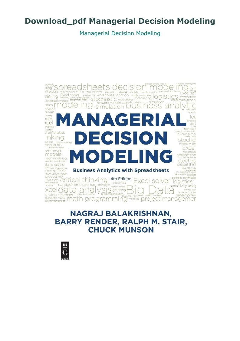 Download Pdf Managerial Decision Modeling Linear Programming Modeling Techniques Analysis Spreadsheet modeling and decision