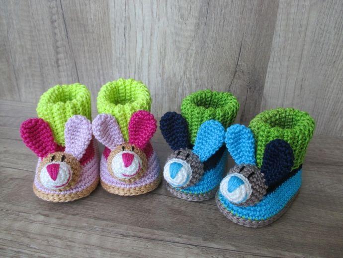 Häkelanleitung Baby-Booties / Babyschuhe Hase - 4 Größen | Mode ...