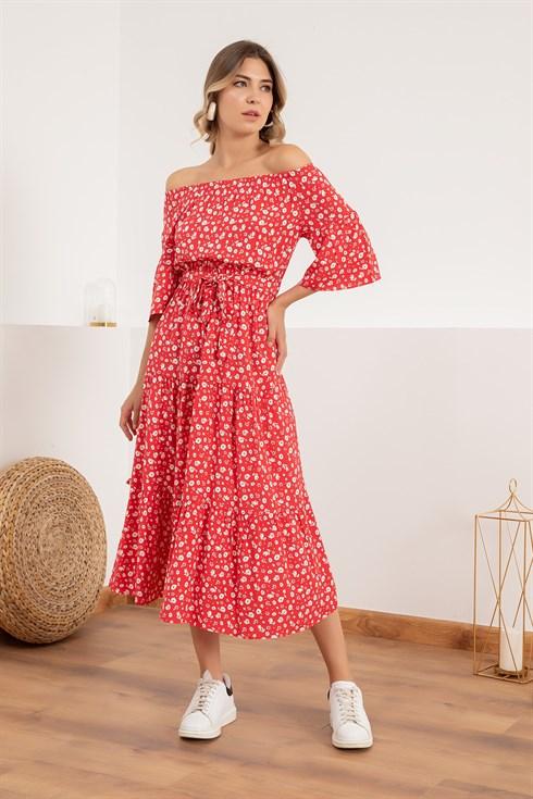 Lastik Yaka Cicekli Viskon Elbise Kirmizi 2020 Elbise Moda Stilleri Elbise Modelleri