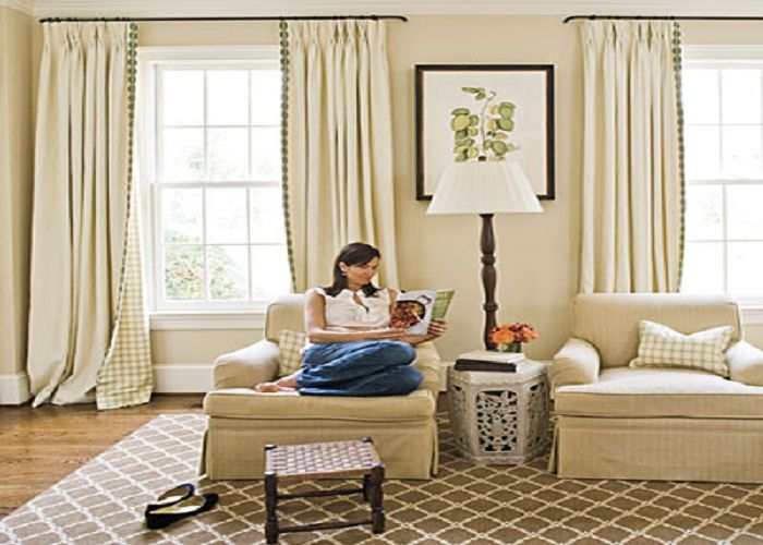 Neutral Lined Curtain Living Room Window 700×500 Pixels