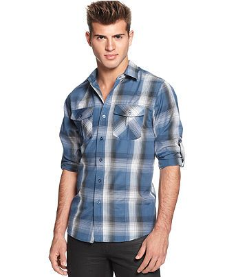 $19.99 No Retreat Shirt, Long-Sleeve Plaid - Casual Button-Down ...