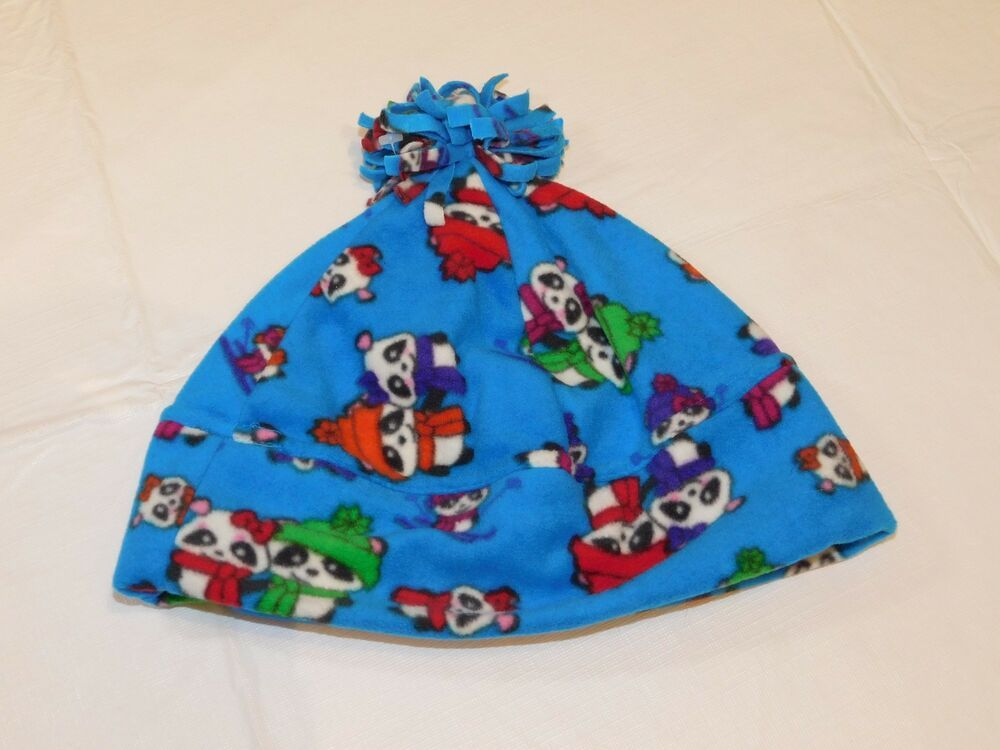 e7cf3e678 Claire s Adult Beanie Hat Cap One Size flanel blue skiing panda NWT   Claires  Beanie