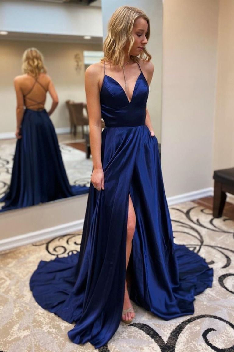 A Line Spaghetti Straps V Neck Long Prom Dresses Formal Evening Gowns 601839 Simple Prom Dress Long Simple Prom Dress Prom Dresses Blue [ 1151 x 768 Pixel ]
