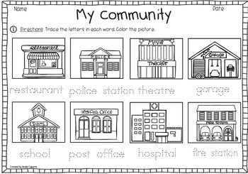 Places In Town Vocabulary Pack Community Helpers Worksheets