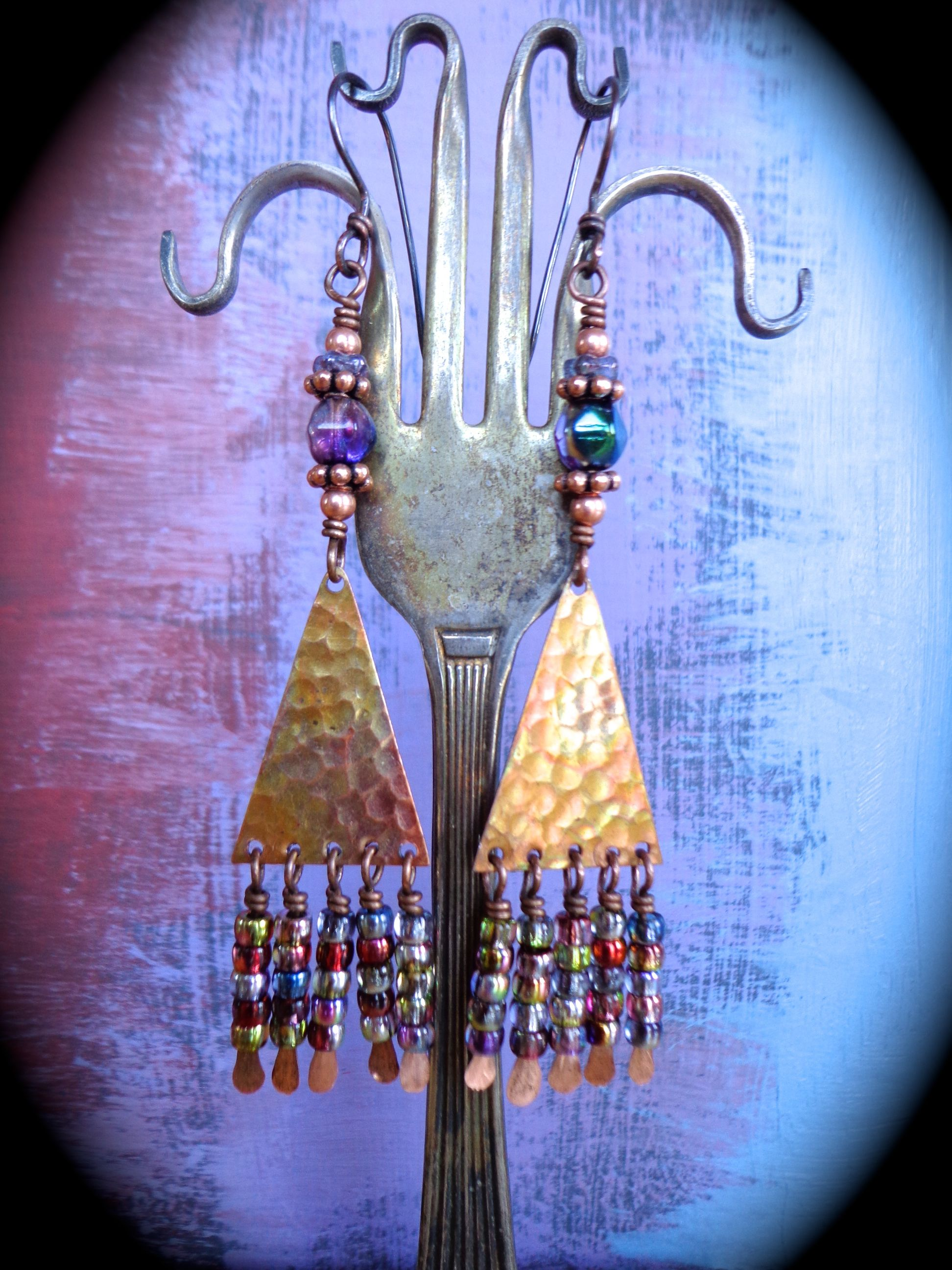 Flame Painted Copper Earrings by qisma @ Etsy