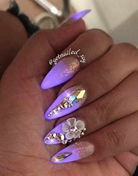 Lavender Almond Cut Nails