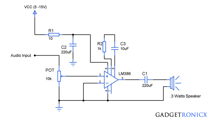 Swell Audio Amplifier Circuit Using Ic Lm386 Experiments Audio Wiring Cloud Brecesaoduqqnet