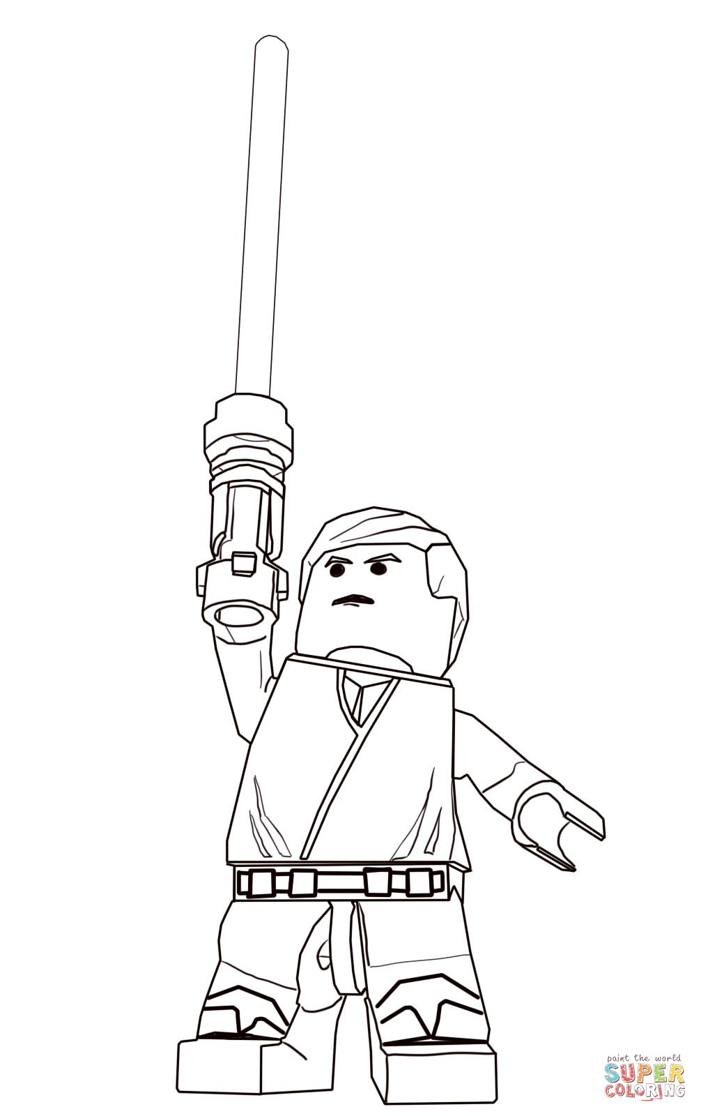 Lego Star Wars Luke Skywalker Coloring Page Supercoloring Com