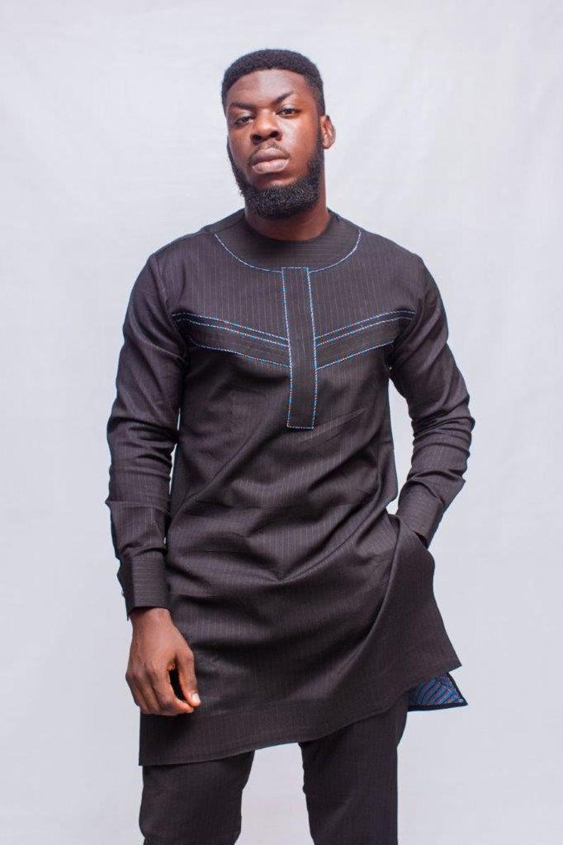 Chalk Stripes African Men Suit, African Mens Wear, African