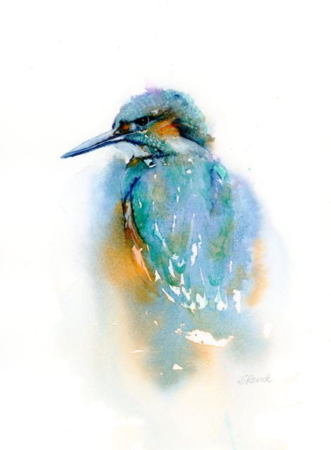 Bird Print Of Kingfisher Painting Teal Blue Abstract Watercolour