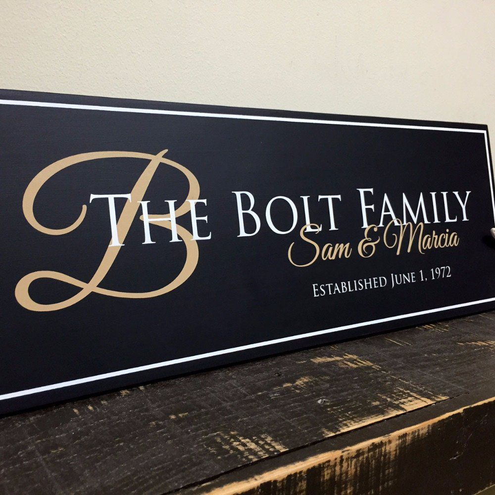Family Established Sign, Personalized Family Name Sign