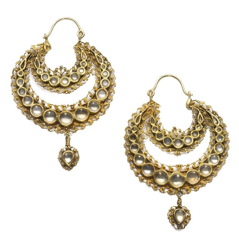 A Charming Pair of Gold and White Sapphire Earrings India,Gujarat 19th Century