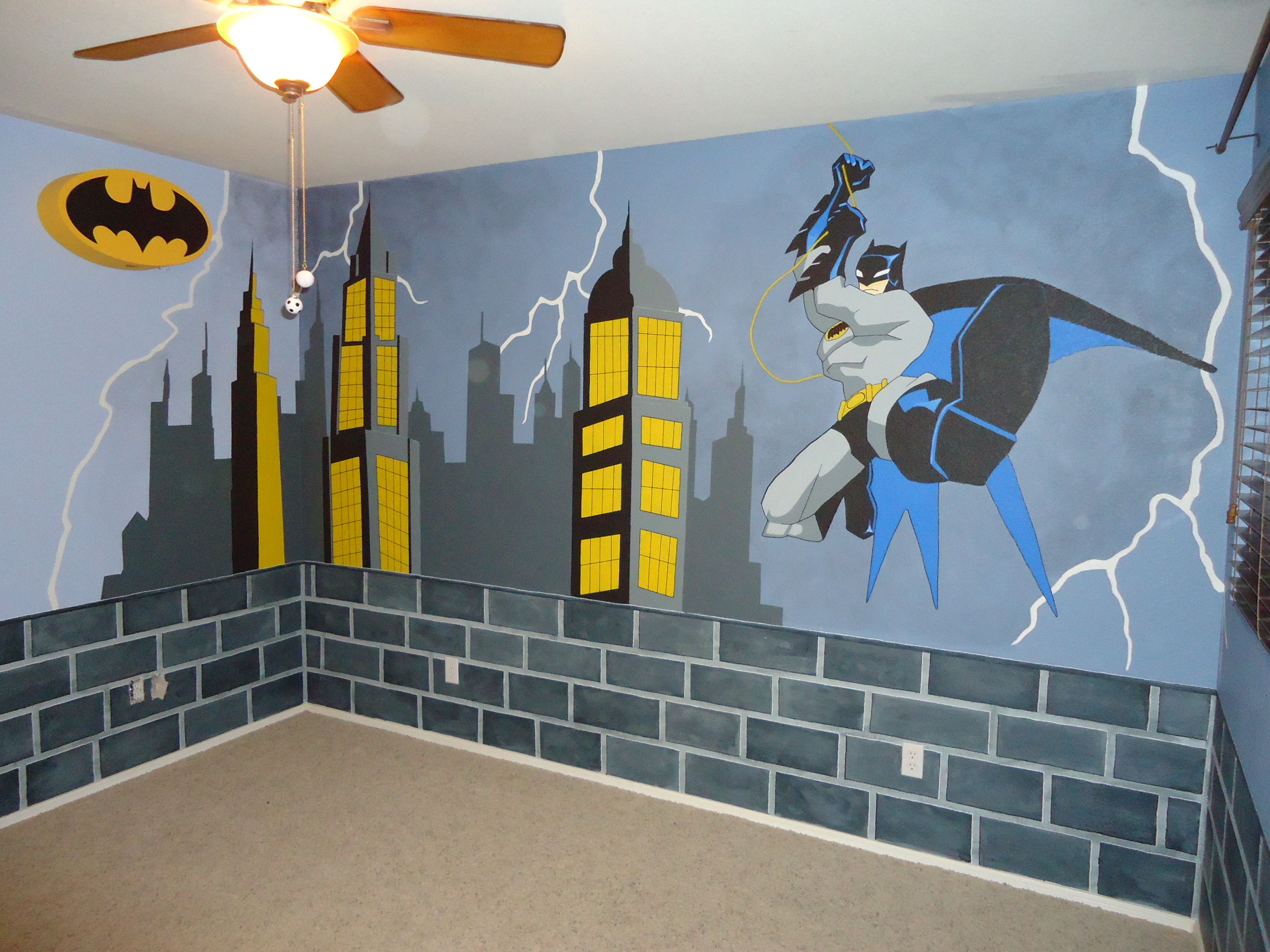 Best Batman Room Makeover Started With Blue Walls Brick Is 640 x 480